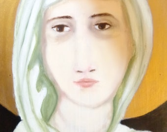 Saint Clare-oil on wood panel