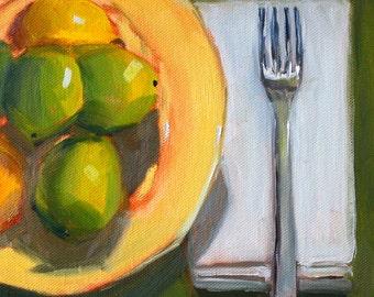 Original, Still Life, Oil Painting, Lemon Lime, Kitchen Wall Decor, Green Yellow, Small, 8x8, Citrus Fruit, Canvas, Fork Napkin Plate, Food