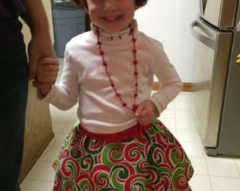 Christmas skirt, holiday skirt, toddler skirt, baby skirt, red and green, green skirt, christmas pageant, red skirt