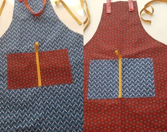 Red Seshweshwe Apron with blue and yellow detail