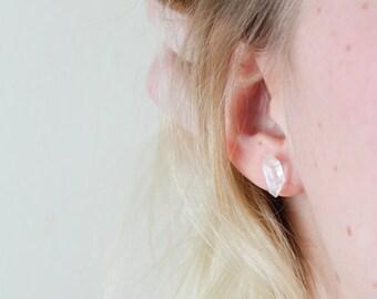 Herkimer Diamond Earrings, Quartz Earrings, Diamond Earrings, Minimalist Earrings, Silver Diamond Earrings, Diamond Studs, Silver Studs