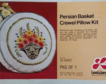 Vintage Lee Wards crewel work pillow kit Persian BAsket