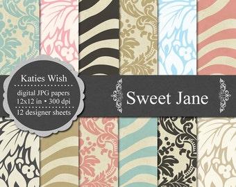 Sweet Jane Digital Paper Kit N067 12x12 inch 300 dpi jpgs for Commercial Use