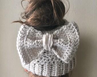 Bow Messy Bun Hat