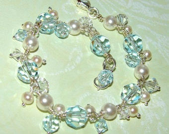 Bella Bracelet EMBELLISHED, Pearls and Crystals, Lovely for Brides and Bridesmaids, Design Your Own