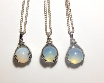 Opalite Crystal Ball Necklace, Opalite Crystal Necklace, Crystal Ball Necklace, Opalite Necklace, Crystal Ball, Opalite Pendant, Palm Reader