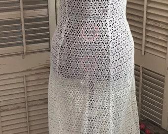 Vintage Sheer Crochet Lace Wedding Dress w/ Bolero Jacket~Double Strap Dress,Vintage Fashion,Vintage Wedding Dress,BoHo Fashion,BoHo Wedding