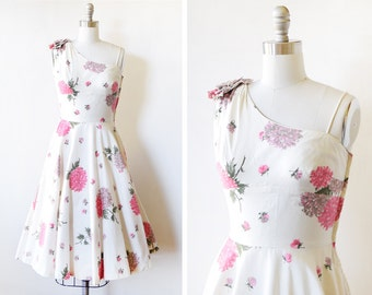50s floral dress, vintage 1950s garden party dress, white and pink fit and flare dress, extra small xs