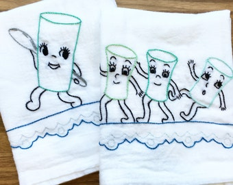 Forward March! Hand Embroidered Dish Towels