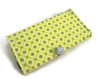 Lime green checkbook cover or coupon storage wallet gray and green