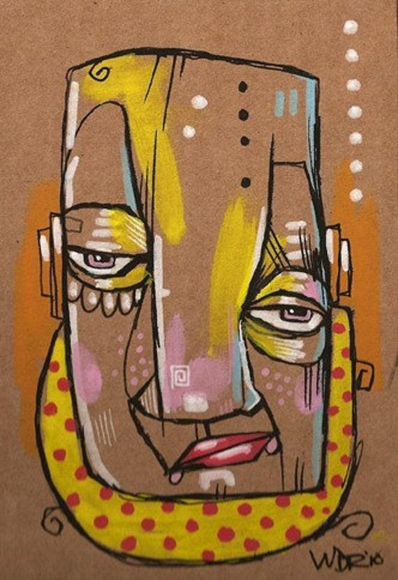 Polka Dot - Original Illustration on Cardboard