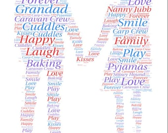 Personalised word art, couple holding hands design, gift idea for couples, wedding, anniversary