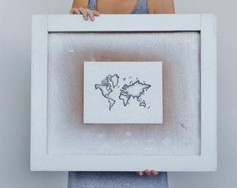 Black and White World Map Drawing, Fine Art Print, 8x10 Wall Art, Eco friendly, Travel Illustration