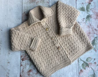 Crochet cotton baby coat in beige