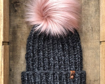 Hand Knit Snowboarder Chloe Kim Inspired Beanie Muse Faux Fur Pom Bulky Yarn Handmade Skiing Snowboarding Sledding Winter Snow Hat