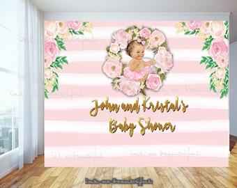 PRINTABLE  TuTu Ballerina, Mock Room, Nursery Backdrop Birthday Party, Parisian Themed Backdrop, Striped Back Drop
