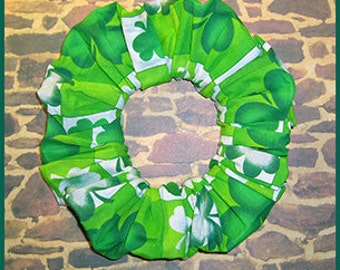 Checkered Hair Scrunchie, Shamrocks/Clovers Ponytail Holder, St. Patrick's Day Themed Fabric Hair Tie
