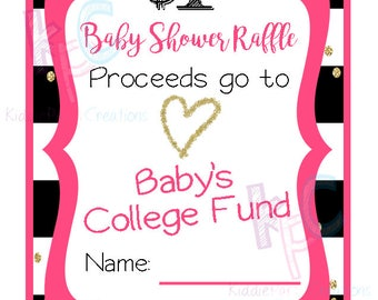 Pink and Gold Baby Shower College Fund Raffle Ticket 12 Per Page {INSTANT DOWNLOAD}