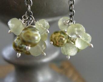 prehnite earrings, mossy green stone earrings, gemstone earrings, handmade earrings, drop earrings