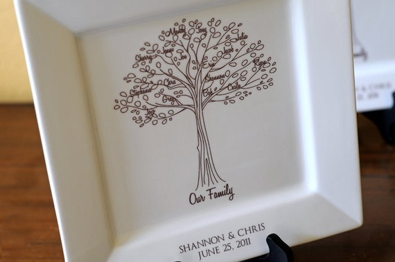 Wedding Gifts To Parents From Bride And Groom: Family Tree PlatterBride And Groom Wedding Gift For Parents