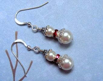 Snow Girl Earrings, Snowman Earrings, Christmas Earrings, Holiday Earrings, Pearl Earrings, Swarovski Earrings, Christmas Jewelry
