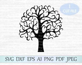 Tree svg, Family tree svg file, Tree clipart, Tree vector, Swirly tree svg, Tree silhouette svg, Tree cricut, Tree cut file, Tree clip art