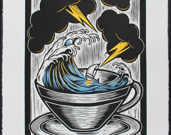 Storm In A Tea Cup - Hand Coloured Lino Print, Signed and Numbered Edition of 30