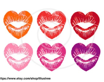 Heart lips, red lipstick traces, kisses and hugs, XOXO, digital clipart set, print, scrapbooking, cardmaking, vector, EPS, download