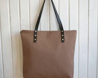Water resist Canvas bag,Mink Color Canvas Bag,Canvas Shoulder Bag,Canvas Tote,Zippered Handbag,Mink Color Tote,Leather Strap Tote Bag