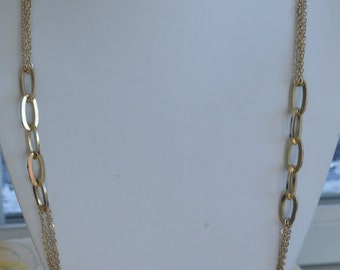 "Pretty Vintage Gold tone Link, Chain Necklace, Adjustable, 30""-32-1/4"" (AP7)"