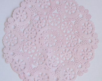 TEN dip dyed LIGHT PINK Paper Doilies, 8 inch, 10 inch or 12 inch  Medallion Style