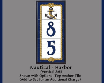Nautical - Harbor, Vertical House Numbers Address Tiles, Framed Set, Anchors, Rope