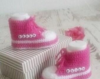 Baby shoes baby shoes Baby Shoes Sneakers crochet name Pink White
