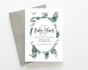 Baby Shower Invitation, Gender Neutral Baby Shower Invitations, Baby Shower Invitation Gender Neutral, Eucalyptus Baby Shower Invitation