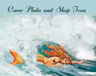 large Cover banner and Shop Icon, instant download, Ocean Wave Mermaid, surf, redhead, golden scales, pearls, beach, shore, water,