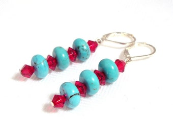 Turquoise with Red Swarovski Crystal earrings