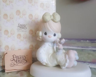 """Vintage Precious Moments figurine """"A friend is someone who cares"""" 1988, enesco skating clown and mouse collectible"""