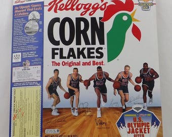 vintage collectible, sports memorabillia, event souvenir, US Olympic event, Olympic basketball, Kelloggs cereal box, David Robinson,ohmy5605