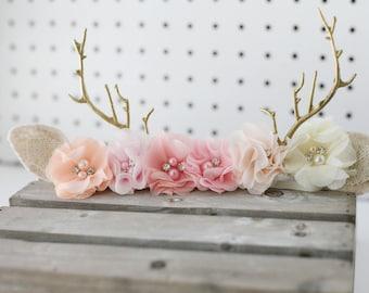 Aubrey blush cream peach  gold antler springtime infant toddler fawn deer woodland antler crown halo floral headband prop ready to ship