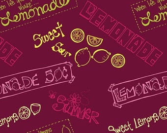 Fabric - Signs Cranberry, Fabric by the Yard, Cotton Fabric, Fat Quarter, Quilting Fabric, Lemon Fabric, Lemonade, Lemon Squeezy