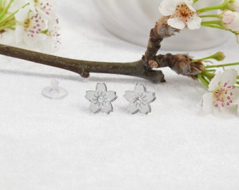 Mirror Acrylic Etched Sakura Cherry Blossom Stud Earring with Swarovski Crystal