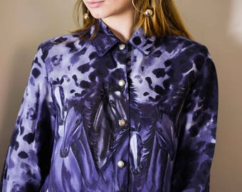 90s Rough Rider Navy Horse Print Shirt Size Large / Cowgirl Shirt / Wild West / Western Print/ Rodeo