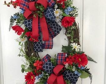Memorial Day Wreath, Front Door Wreath, Summer Wreath, Patriotic wreath.