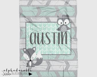 Personalized Minky Arrow Baby Blanket in Grey and Mint with Fox and Owl. It's so Buttery soft!