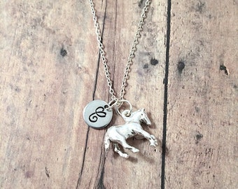Horse initial necklace - horse jewelry, farm animal necklace, equestrian jewelry, horse riding jewelry, silver horse pendant, farm jewelry