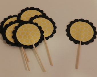 Bumble Bee Themed Cupcake Toppers Black and Yellow