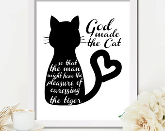 Cat poster, Cat quote, Cat lover, Cat lover gift, Black cat print, Printable art, Digital print, Cat wall art, Cat person, Cat printable