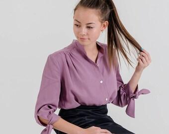 Tie-Sleeve Blouse (Dusty Pink)