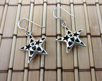 Silver Star Earrings, Hearts Filigree 925 Sterling Hooks Christmas Jewelry Holiday Jewellery Stars Heart Dangle Vintage FREE SHIPPING (532)