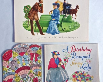 Vintage Birthday Cards 1930's/ 1940's - Pack of 3 Unused Greetings Cards - Mother, Lady, Old Fashioned Wish - Nostalgic Ephemera